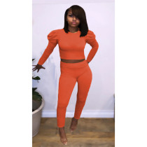 Solid Pull Sleeve Two Piece Pants Set AWF-5815