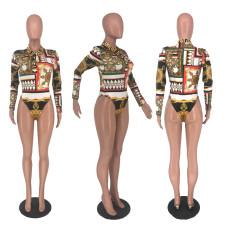 Sexy Print Long Sleeve Bodysuit NLF-8013