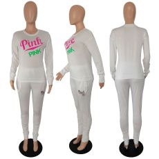 Pink Letter Print Round Neck Long Sleeve Casual Sportswear Suit XMF-012