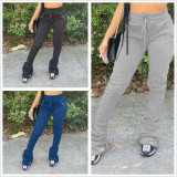 Casual Solid Plush Long Stacked Pants FSL-102