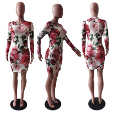 Floral Print Long Sleeve Mini Bodycon Dress TCF-004