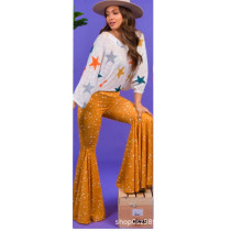 Fashion Printed Mid Waist Flared Pants NLF-8006