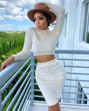 Solid Plush Long Sleeve Crop Top Mini Skirt 2 Piece Sets TR-1081