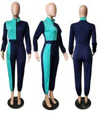 Patchwork Zipper Long Sleeve Jumpsuit XMF-019