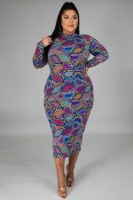 Plus Size 5XL Long Sleeve Printed Long Dress OSM2-4320