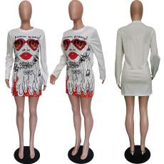 Casual Printed Long Sleeve Mini Dress BGN-118