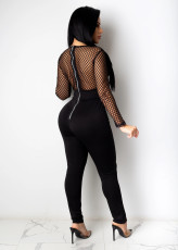 Sexy Grid Patchwork High Waist Jumpsuits YIS-935