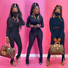 Solid Long Sleeve Stacked Pants Two Piece Sets Without Mask PIN-8518
