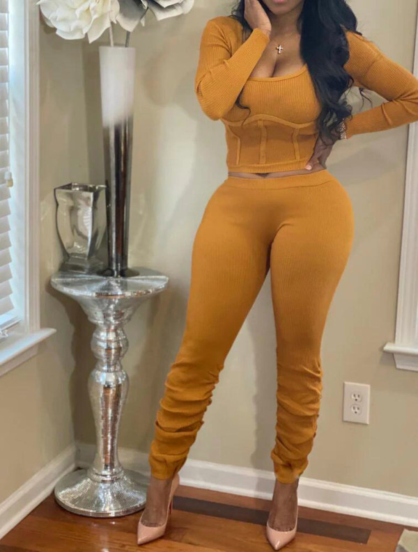 Solid Long Sleeve Stacked Pants Two Piece Sets FNN-8542