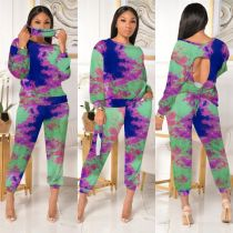 Plus Size Tie Dye Long Sleeve Two Piece Sets Without Mask MTY-6576