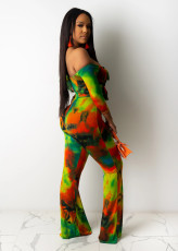 Sexy Print Off Shoudler Lace Up Jumpsuit SXF-0417