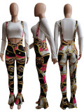 Casual Printed Strap Flared Jumpsuits SXF-2965