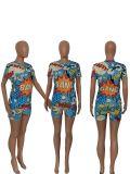 Cartoon Print T Shirt Shorts Two Piece Sets SXF-2650