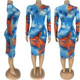 Sexy Printed Long Sleeve Midi Dress FNN-8544