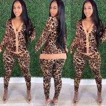 Leopard Print Long Sleeve Two Piece Pants Set MEM-8307