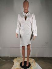 White Long Sleeve Casual Shirt Dress MK-3031