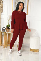 Solid Long Sleeve Lace Up Two Piece Pants Set WZ-8343