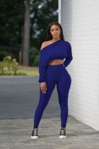 Solid Long Sleeve Crop Top And Pants 2 Piece Sets WZ-8342