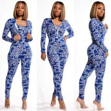 Fashion Print Sling Jumpsuit+Short Coat Two Piece Sets SIF-0019