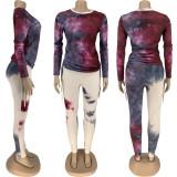 Tie Dye Long Sleeve Two Piece Pants Set FNN-8546