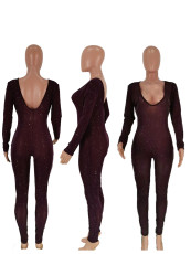 Low Neck Sexy Long Sleeve Club Party Jumpsuit SXF-2103