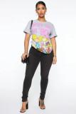 Plus Size Fashion Cartoon Print Short Sleeve T-shirt SXF-0313