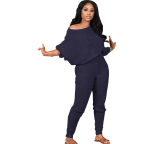 Solid Knitted Sweater Two Piece Pants Set IV-8139