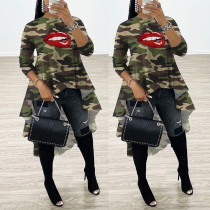 Fashion Casual Camouflage Lip Print Top WXF-8815