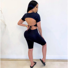 Fashion Backless Lace Up Short Sleeve Top And Shorts Two Piece Set SXF-0314