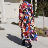 Geometric Print Full Sleeve Long Cloak Coat FNN-8547