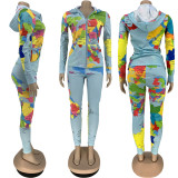 Casual Map Print Long Sleeve Two Piece Suits FNN-8545