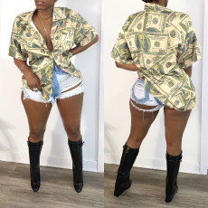 Dollar Print Short Sleeve Blouse Tops SXF-2637