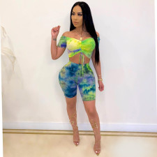 Sexy Tie Dye Short Sleeve Two Piece Shorts Set SXF-0416