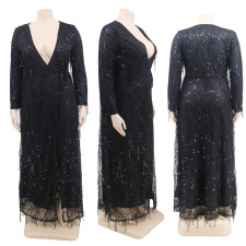 Plus Size Sexy Sequin Tassel Party Club Long Dress CYA-1283