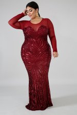 Plus Size 5XL Sexy Sequin Mesh Patchwork Maxi Evening Dress CYA-1085