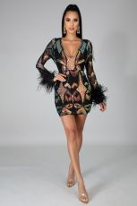 Sexy Sequined Feather V Neck Long Sleeve Club Dress CYA-8741