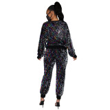 Plus Size Sequins Long Sleeve 2 Piece Sets With Mask CYA-8761