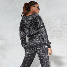 Fashion Printed Long Sleeve Hooded Jacket And Pants Suit SMF-8051