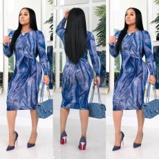Trendy Printed Long Sleeve Midi Dress YFS-3606