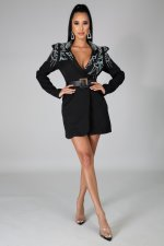 Elegant Hot Drilling Long Blazer Coat Without Belt CYA-8748