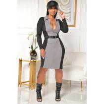 Plus Size 4XL Contrast Ribbed Zipper Midi Dress (including belt) YIY-5227