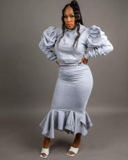 Solid Puff Sleeve Ruffled Irregular Skirt Two Piece Sets SFY-183