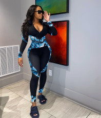 Fashion Camouflage Patchwork Long Sleeve Sports Two Piece Set ZLF-819