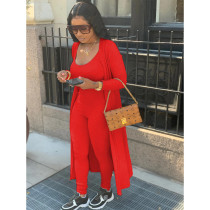 Solid Full Sleeve Cloak+Sleeveless Jumpsuits 2 Pieces SHE-7223