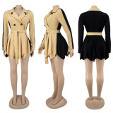 Plus Size 4XL Double Breasted Pleated Belted Mini Dress SFY-182