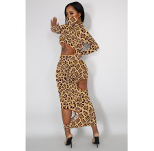 Plus Size Leopard Hollow Long Sleeve Maxi Dress Without Mask OM-1179