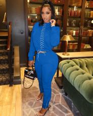 Fashion Casual Lace Up Top And Hem Zipper Split Pants Two Piece Set ZLF-820