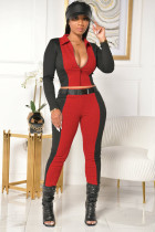 Casual Patchwork Zipper Top Belted Pants 2 Piece Sets ML-7381