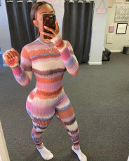 Sexy Striped Rib Long Sleeve Bodycon Jumpsuit WSM-5205