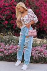 Denim Ripped Hole Straight Jeans Pants WZ-8336